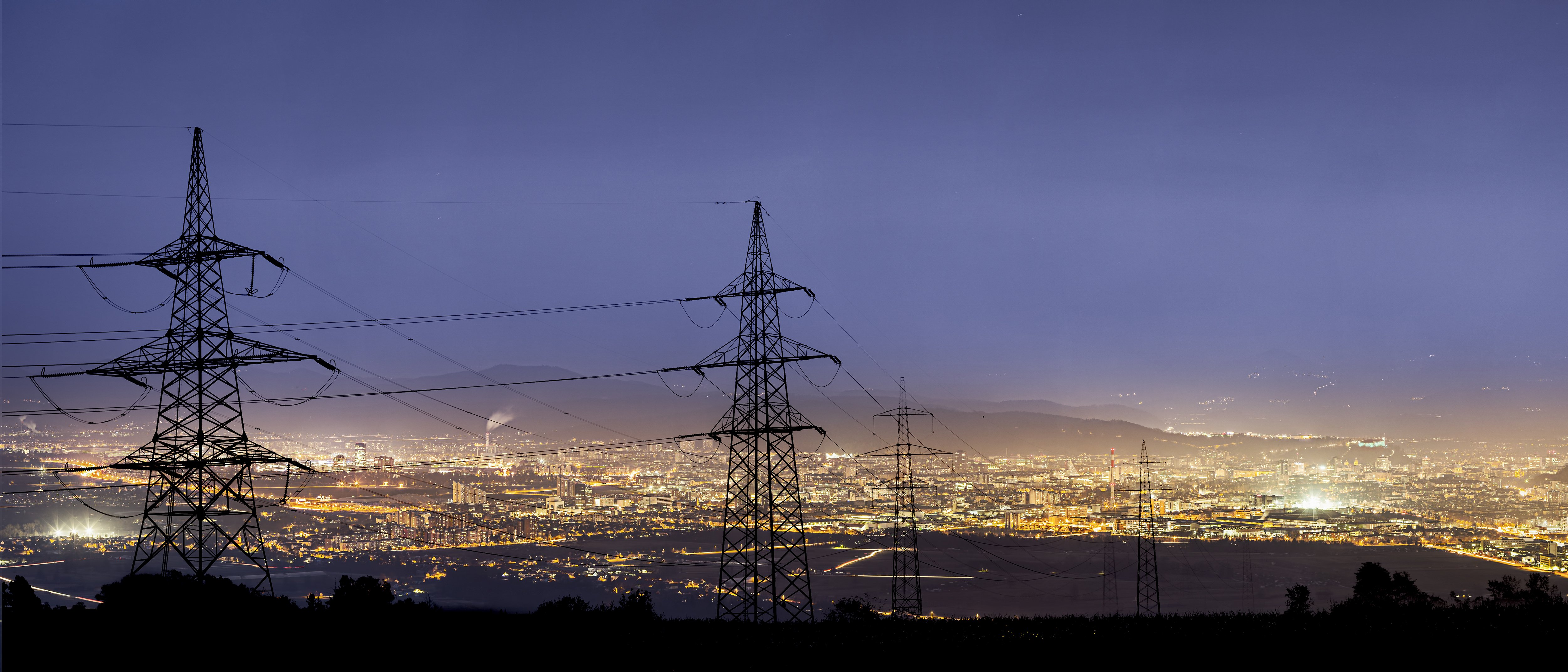 Power lines to a city